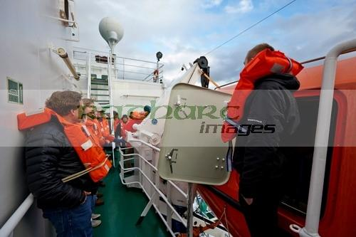 Lifeboat drill on board ship