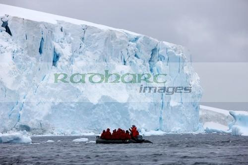 cruising in front of glacier Cuverville island Antarctica