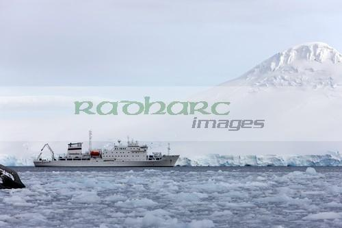 akademik sergey vavilov russian research ship in port lockroy as brash sea ice forming winter closing in Antarctica