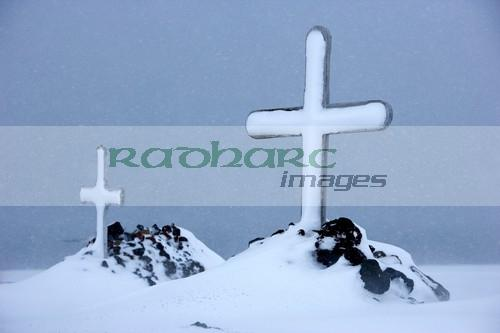 wooden crosses in the graveyard at whalers bay deception island Antarctica