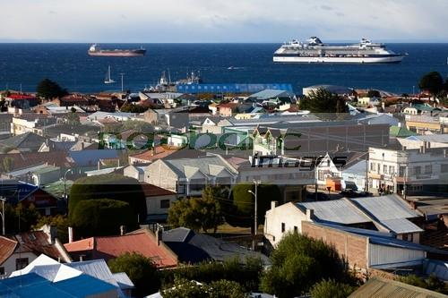 looking down over the city from la cruz viewpoint in Punta Arenas Chile