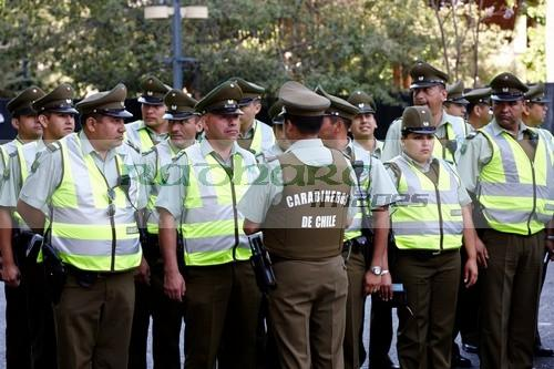 officer briefing parade carabineros de chile national police officers in downtown Santiago Chile