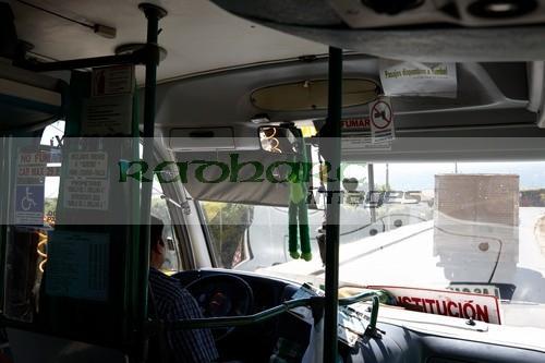 inside small local minibus bus service los pellines chile