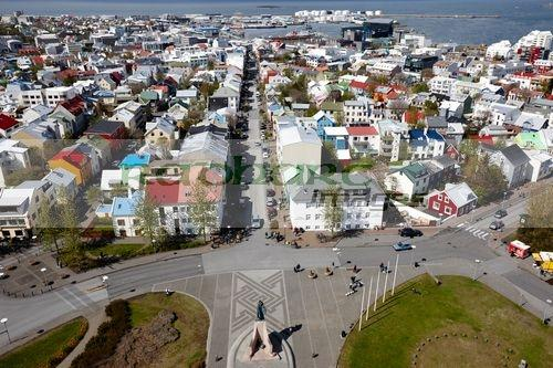 aerial view over the city of Reykjavik iceland viewed from the hallgrimskirkja