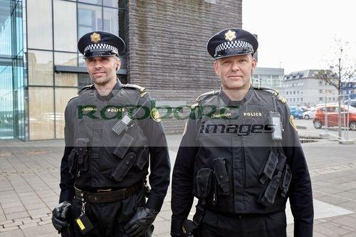 two logreglan icelandic police officers in Reykjavik iceland