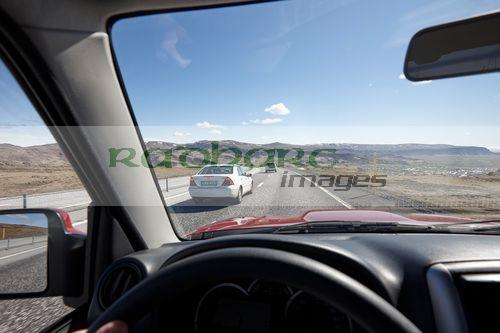 driving the ring road over Skalafell mountain in summer iceland