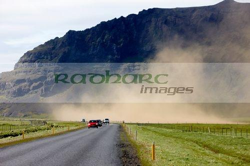 dust storm blown up from freshly ploughed field in causing soil erosion Iceland