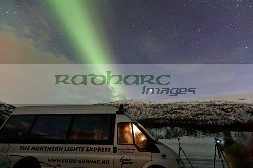 northern lights aurora borealis guided tour vehicle near tromso in northern norway europe