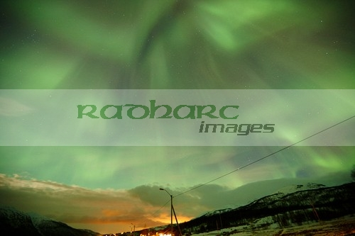 view of full corona northern lights aurora borealis near tromso in northern norway europe