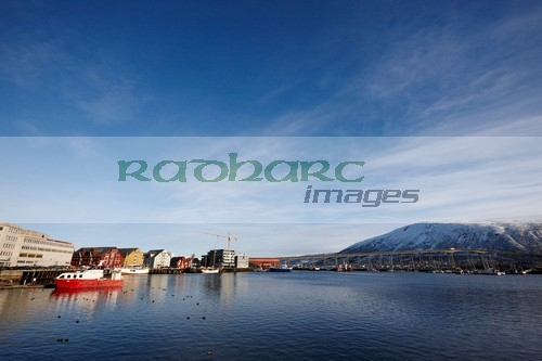 Tromso harbour bryggen and bridge troms Norway europe