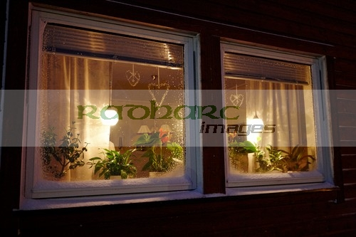 lights in the window of a norwegian house to mimic the sun vardo finnmark norway europe