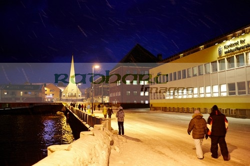 kirkgata street leading up to vardo church in winter snow finnmark norway europe