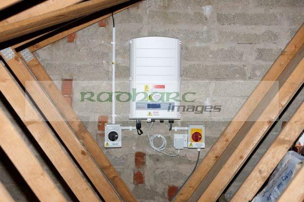 solaredge inverter installed in domestic loof roof space photography Joe Fox Belfast northern ireland photographer