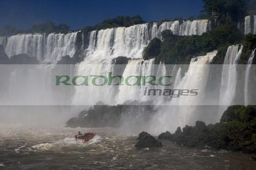 Boat under Iguazu Falls