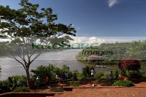 tourists at the argentine side of the triple frontier los tres fronteras puerto iguazu, republic of argentina, south america