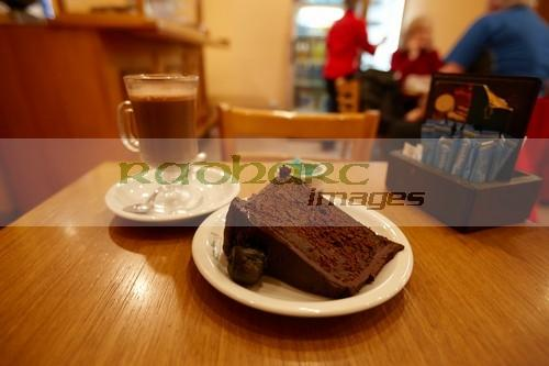 laguna negra fig chocolate cake and hot chocolate cafe Ushuaia Argentina