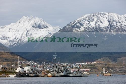 argentine navy ships moored in Ushuaia Argentina