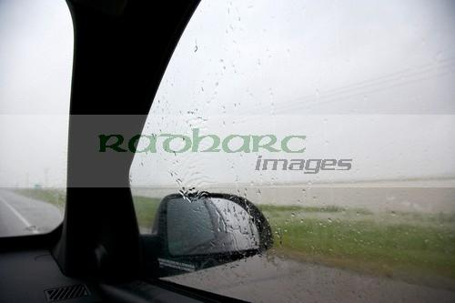 driving through the rain saskatchewan canada