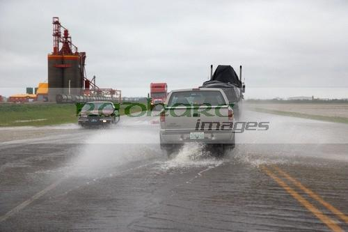 roads flooded driving through the rain saskatchewan canada