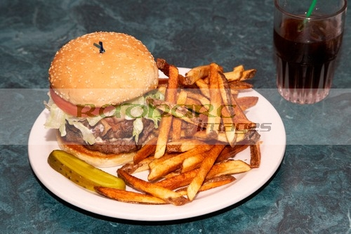 huge burger and fries in the wicklow cafe saskatchewan canada