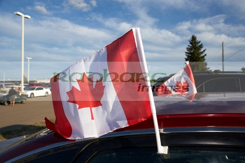 canada day flags on cars