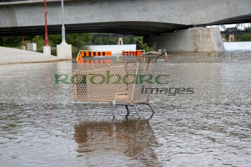 shopping trolley in the river