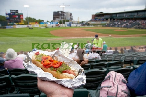 hotdog at a baseball game