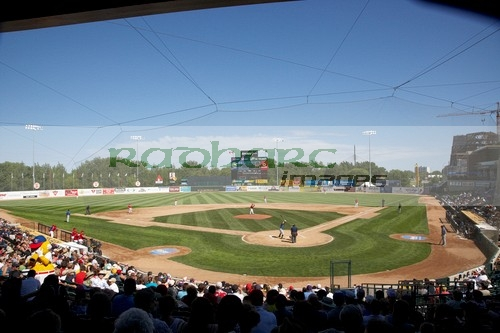 game in progress at shaw park baseball stadium formerly canwest home to the winnipeg goldeyes Winnipeg Manitoba Canada