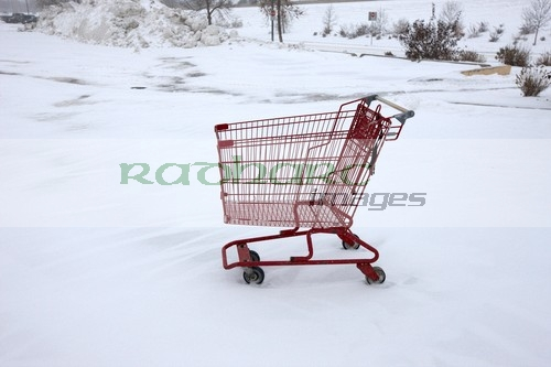 shopping cart trolley in snow