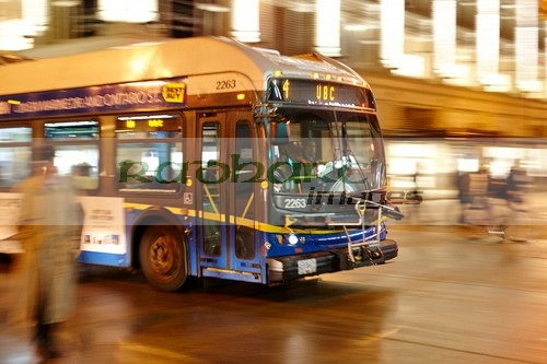 Vancouver city bus at night
