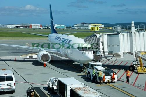 westjet aircraft at St John's international airport newfoundland Canada