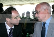 Martin-ONeill-talks-to-Dickie-Best-George-Bests-father-at-George-Best-airport-renaming-ceremony,-Belfast-City-Airport,-Belfast,-Northern-Ireland.