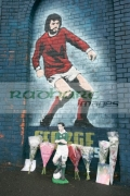 Tributes-for-George-Best-left-at-George-Best-Mural,-Windsor-Park-soccer-stadium,-Belfast,-Northern-Ireland