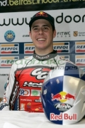 Red-Bull-sponsored-winner-Adam-Raga-from-Spain-at-the-post-event-press-conference-at-the-Belfast-round-the-Indoor-Trial-World-Championship,-won-by-Adam-Raga-from-Spain.