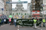 St-Patricks-Day-Parade-in-front-Belfast-City-Hall,-at-St-Patricks-Day-Celebrations,-Belfast-City-Centre.