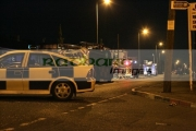 Police-squad-car-fire-service-vehicles-attend-fire-at-Cloughfern-arms-during-loyalist-feud-at-night