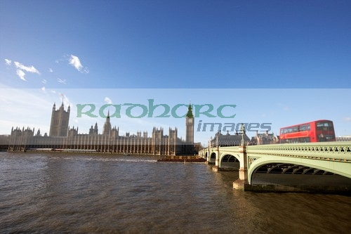 London westminster bridge and bus houses of parliament