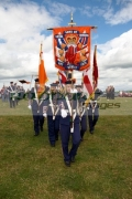 female-standard-carriers-for-loyalist-flute-band-during-12th-July-Orangefest-celebrations-in-Dromara-county-down-northern-ireland