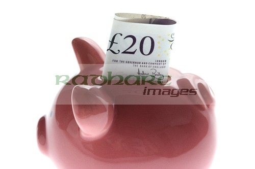 piggy bank twenty 20 pound note money saving