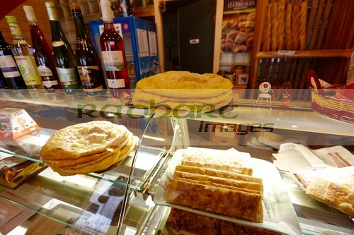 patisserie boulangerie with local catalan speciality pastries wine bread in mont-louis pyrenees-orientales france