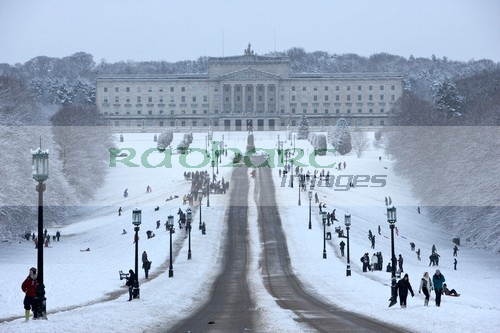 Stormont Parliament Buildings in the snow - Northern Ireland