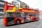City-Sightseeing-Tour-Belfast-open-top-tour-bus-in-Custom-House-Square-Belfast-Northern-Ireland