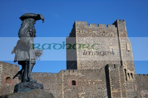 King William of Orange statue at Carrickfergus castle commemorates the landing in Ireland by King William III at Carrickfergus on 14th June 1690 county antrim northern ireland