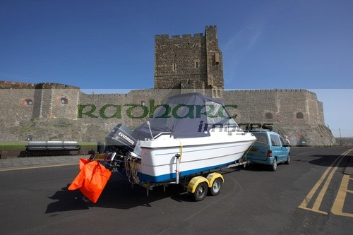 speedboat on trailer at carrickfergus castl