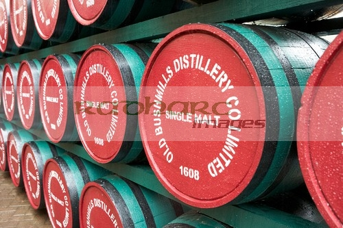 whiskey barrels at the old bushmills distillery county antrim northern ireland uk