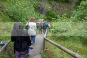 Tourists-going-down-the-long-steep-path-to-the-Marble-Arch-Caves-European-Geopark-show-caves-national-nature-reserve,-County-Fermanagh,-Northern-Ireland