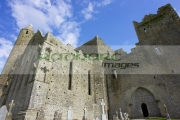remains-13th-century-cathedral-against-blue-cloudy-sky-in-the-Rock-Cashel,-Cashel,-County-Tipperary,-Republic-Ireland