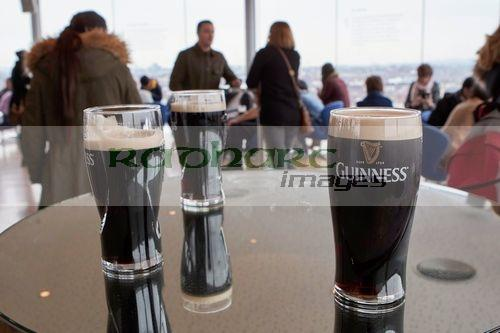 pints of guinness in the gravity bar at the guinness storehouse