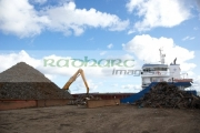 piles-recycled-shredded-metals-being-loaded-unto-ship-at-metal-recycling-site-Belfast-Northern-Ireland-UK