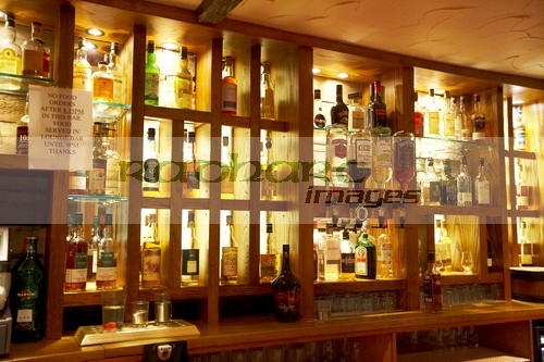 selection of whiskeys in the bar